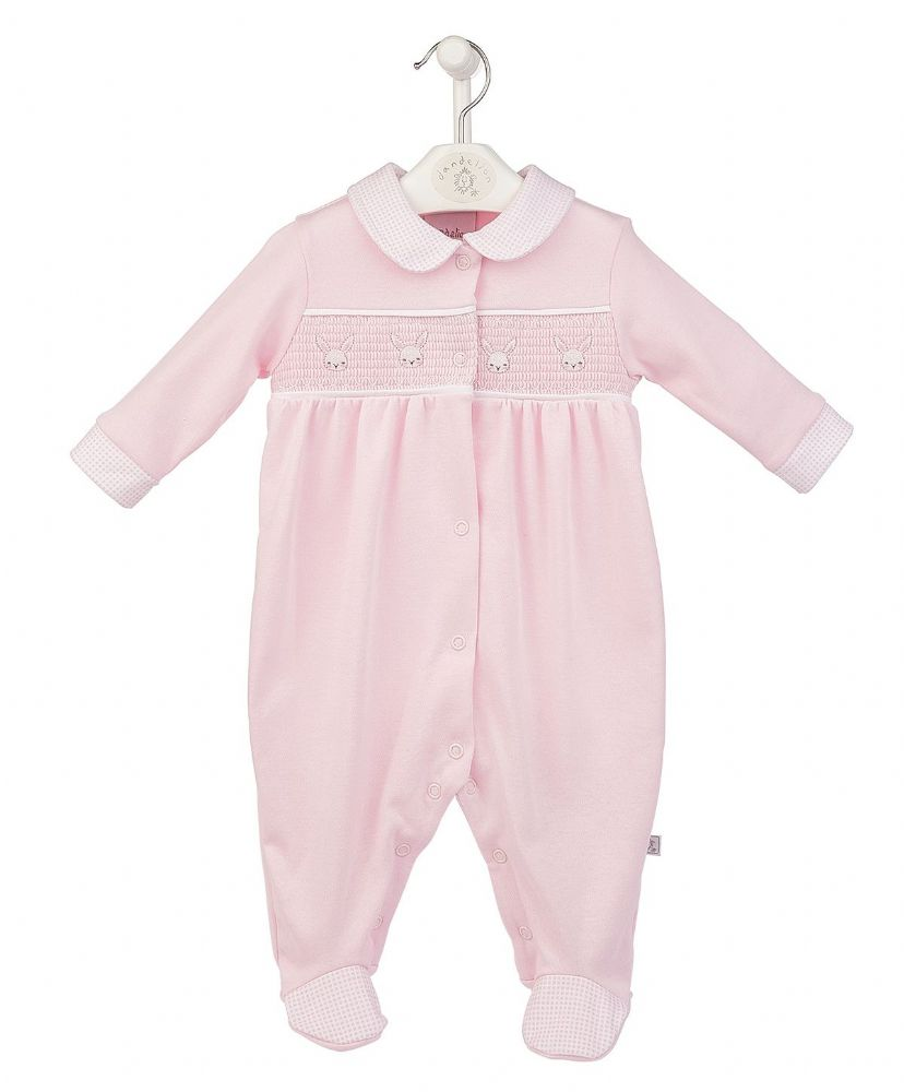 AV2441 Bunny Smocked Cotton Sleepsuit